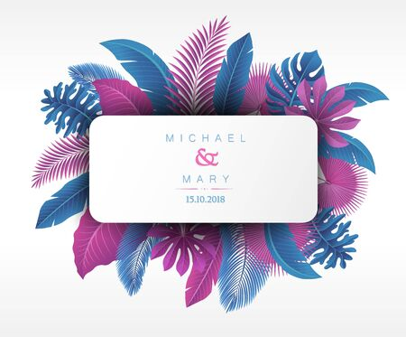 Wedding invitation with Tropical Leaves concept. Vector Illustration 版權商用圖片 - 145942511