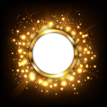 Round gold sign with text space on gold big bang concept. Suitable for advertising, and other. Vector Illustration 向量圖像