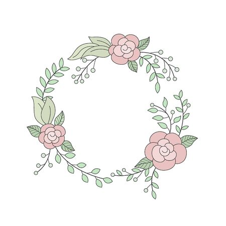 Floral wreath in round frame. Suitable for advertising, invitation and other. Vector Illustration