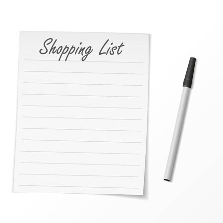 Shopping list paper and pen. Vector Illustration 向量圖像