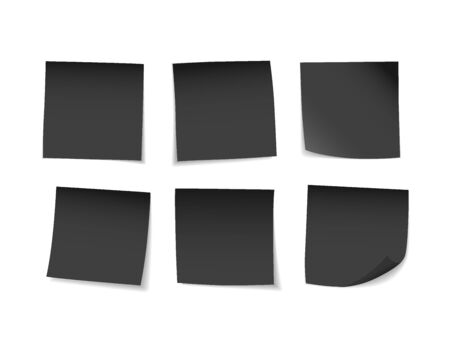 Black sticky notes set. Suitable for notes, advertising, and other. Vector Illustration