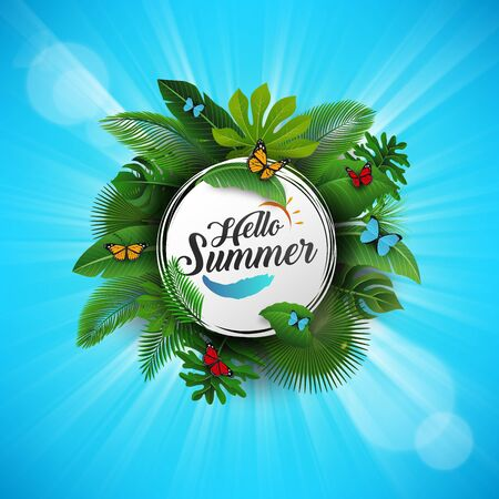 Hello summer sign with Tropical Leaves and blue background. Suitable for Summer concept, vacation, and summer holiday