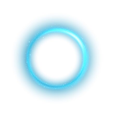 Round blue light twisted on white background, Suitable for product advertising, product design, and other