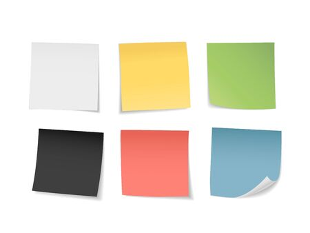 Multicolored sticky notes set. Suitable for notes, advertising, and other. Vector Illustration 向量圖像