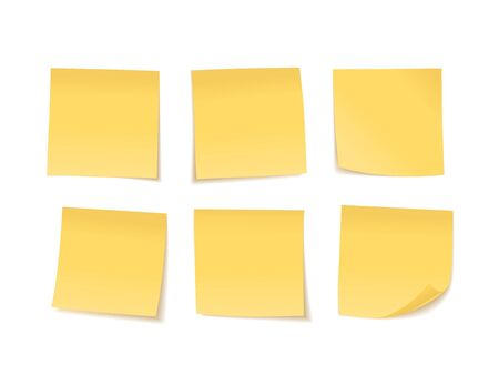 Yellow sticky notes set. Suitable for notes, advertising, and other. Vector Illustration 向量圖像