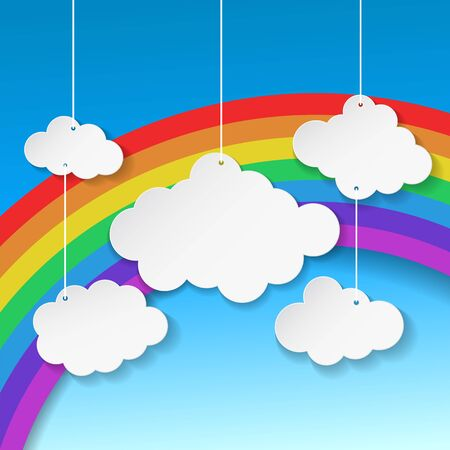 Clouds on Rainbow background. Vector Illustration