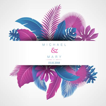 Wedding invitation with Tropical Leaves concept. Vector Illustration