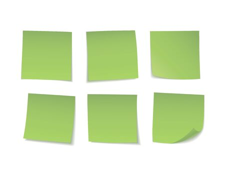 Green sticky notes set. Suitable for notes, advertising, and other. Vector Illustration