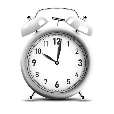 Realistic shiny silver alarm clock. Vector Illustration 版權商用圖片 - 150728359
