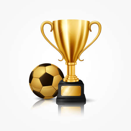 Realistic Golden Trophy with Soccer Ball, isolated on white background. Vector Illustration