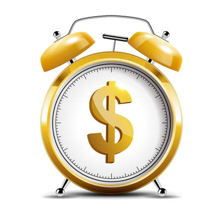 Realistic shiny gold alarm clock with shiny dollar emblem, time is money concept. Vector Illustration