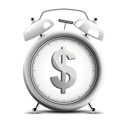 Realistic chrome alarm clock with shiny dollar emblem, time is money concept. Vector Illustration 版權商用圖片 - 150728368