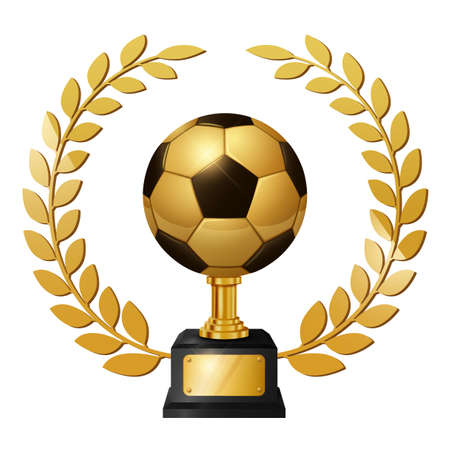 Realistic Gold Soccer Ball Trophy with Gold Laurel Wreath, isolated on white background. Vector Illustration 版權商用圖片 - 150728370