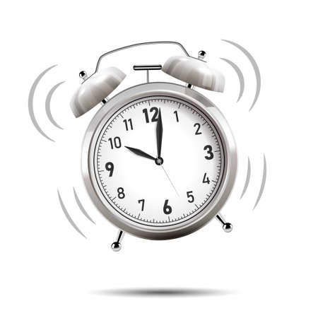 Realistic chrome alarm clock. Vector Illustration