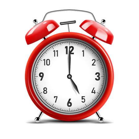 Realistic shiny red alarm clock. Vector Illustration 版權商用圖片 - 150728377