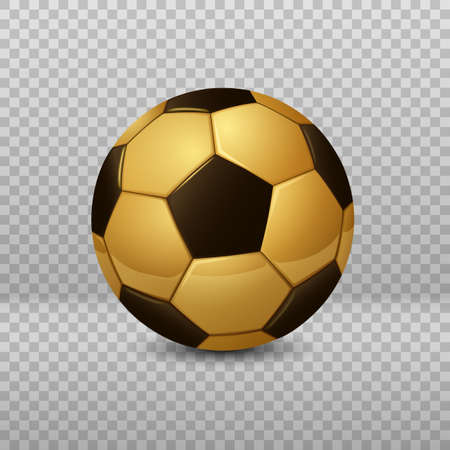 Detailed Golden Soccer Ball isolated on transparent background. Vector Illustration