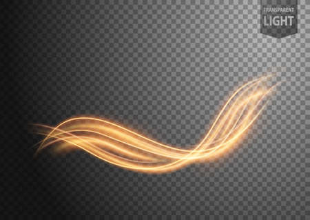 Abstract gold wavy line of light with a transparent background, isolated and easy to edit. Vector Illustration Vektorgrafik