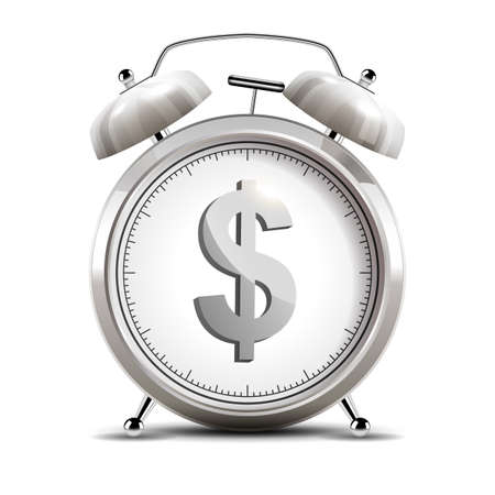 Realistic chrome alarm clock with shiny dollar emblem, time is money concept. Vector Illustration 版權商用圖片 - 150728403