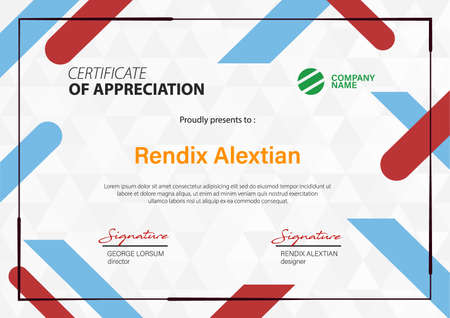 Certificate of Appreciation template, with Geometric hipster triangular background. Vector Illustration