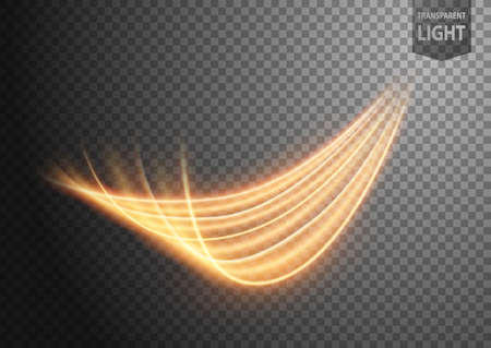Abstract gold wind line of light with a transparent background, isolated and easy to edit. Vector Illustration 版權商用圖片 - 150728431