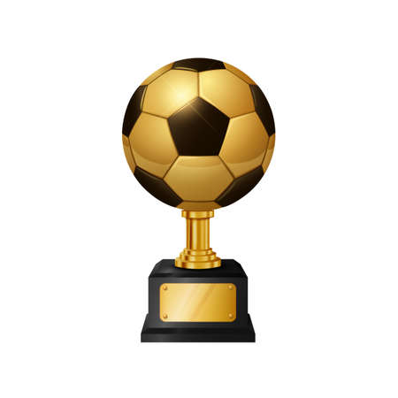 Realistic Gold Soccer Ball Trophy, isolated on white background. Vector Illustration