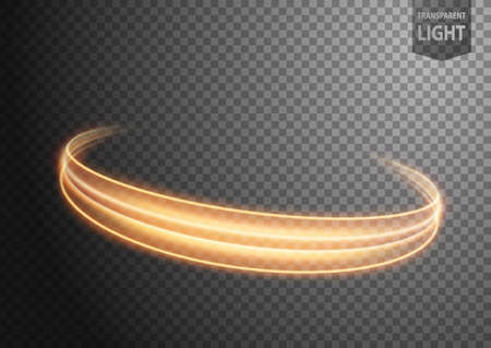 Abstract gold wind line of light with a transparent background, isolated and easy to edit. Vector Illustration