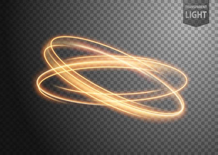 Abstract gold wavy line of light with a transparent background, isolated and easy to edit. Vector Illustration 版權商用圖片 - 150728452