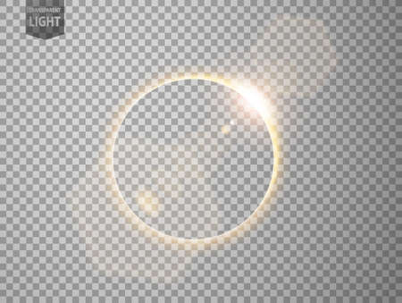 Gold eclipse with lens flare. isolated on transparent background. Vector Illustration 向量圖像