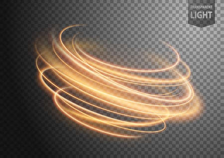 Abstract gold wavy line of light with a transparent background, isolated and easy to edit. Vector Illustration 版權商用圖片 - 153468201