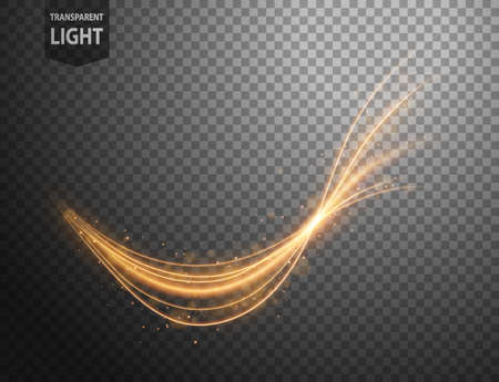 Abstract gold wavy line of light with a transparent background, isolated and easy to edit. Vector Illustration 向量圖像