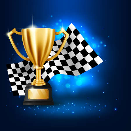 Realistic Golden Trophy with Checkered flag racing championship on blue background
