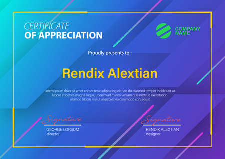 Certificate of Appreciation template, with Geometric background. Vector Illustration