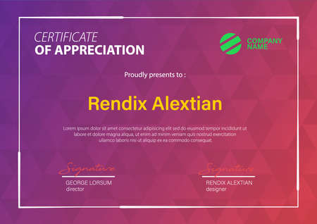 Certificate of Appreciation template, with Geometric hipster triangular background. Vector Illustration 版權商用圖片 - 153507094
