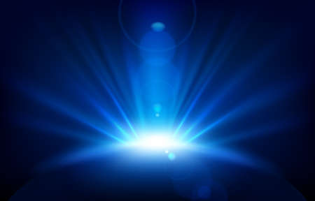 Blue Rays with lens flare, Vector Illustration