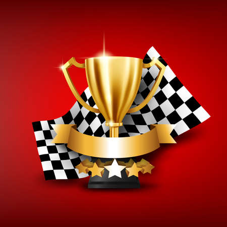 Realistic Golden Trophy with Checkered flag racing championship and place for text. Vector Illustration