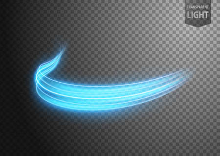 Abstract blue wavy line of light with a transparent background, isolated and easy to edit. Vector Illustration 向量圖像