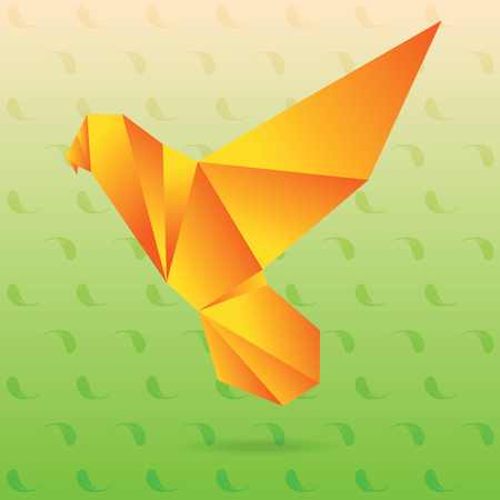 lovebird: Yellow lovebird origami Illustration
