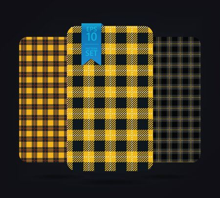 plaid patterns: gingham Patterns and buffalo check plaid patterns. Modern pixel gingham patterns of different styles