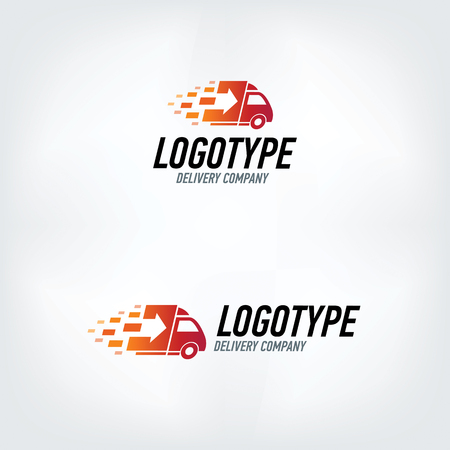 package delivery: Delivery company logo. Fire logotype. Fast delivery car.
