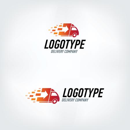taşıma: Teslim şirket logosu. Yangın logo. Hızlı teslimat araba.