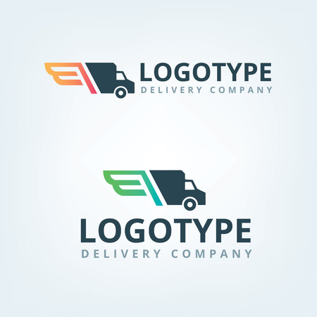 delivery service: Delivery company logo. Wings logotype. Delivery car.