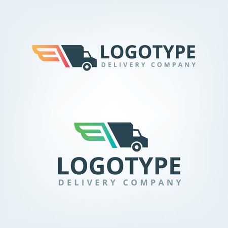 Logotipo de la empresa de entrega. Alas logotipo. Coche de salida.