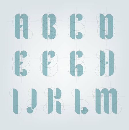 Architectural drawing plane alphabet. Engineer drawn typeface