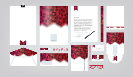 guideline: company style for brand book and guideline. Folder, pen, envelope, business card, CD disc, flash memory card, pencil, ruler, glasses, and blank sheet. Illustration