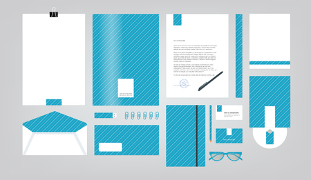 company style for brand book and guideline. Folder, pen, envelope, business card, CD disc, flash memory card, pencil, ruler, glasses, and blank sheet. 矢量图像