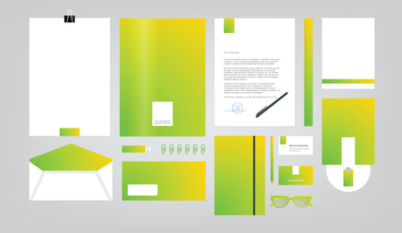 style sheet: company style for brand book and guideline. Folder, pen, envelope, business card, CD disc, flash memory card, pencil, ruler, glasses, and blank sheet. Illustration