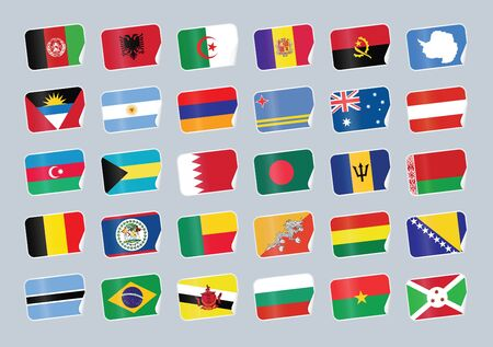 world flags: Set of world flags. Shop tag with flags