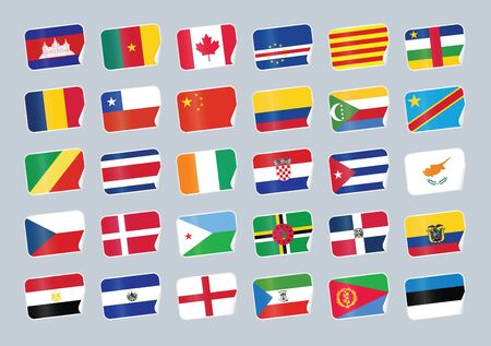 republic of colombia: Set of world flags. Shop tag with flags