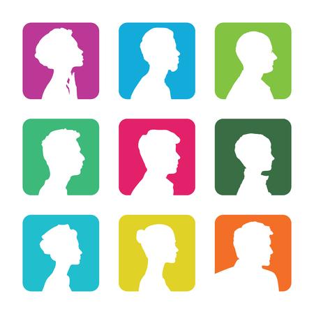 Silhouette di testa, volto di profilo Vettoriali