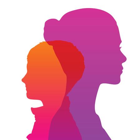 silueta niño: Silueta de la cabeza, la cara de perfil Vectores